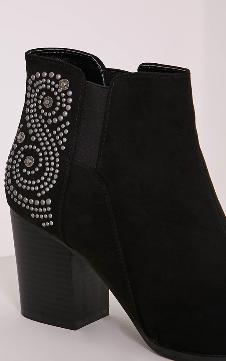Willow Black Faux Suede Studded Ankle Boots 5