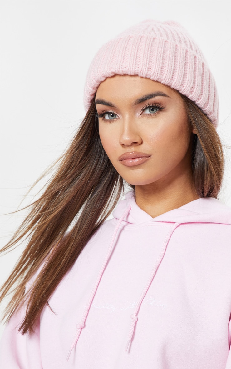 Pink Ribbed Knitted Beanie 1