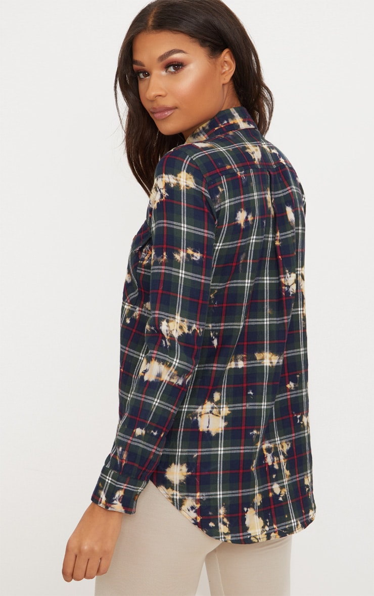 Navy Bleached Plaid Oversized Shirt  2