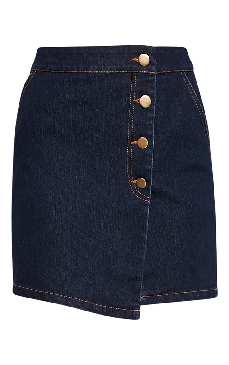 Ishani Dark Wash Button Down Denim Mini Skirt 3