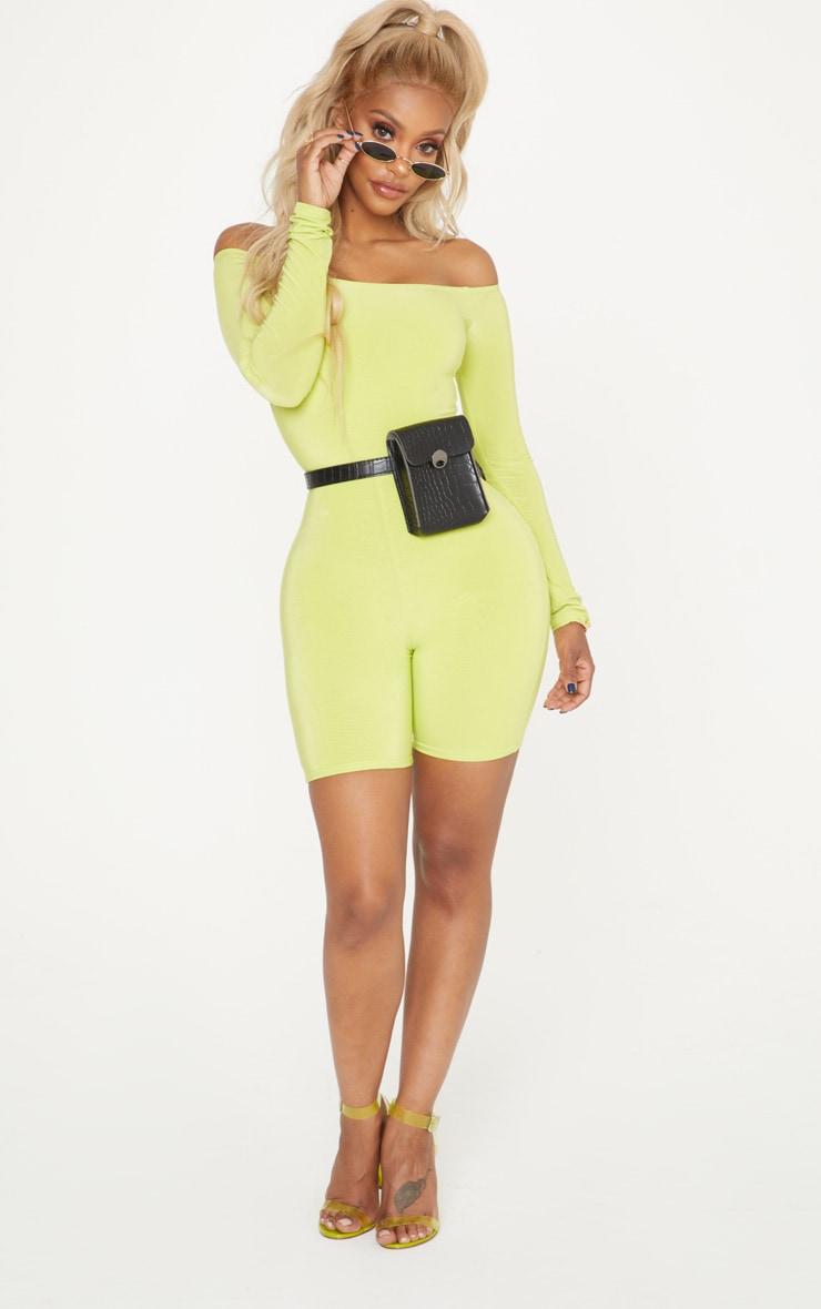 Shape Neon Lime Bardot Slinky Unitard 4