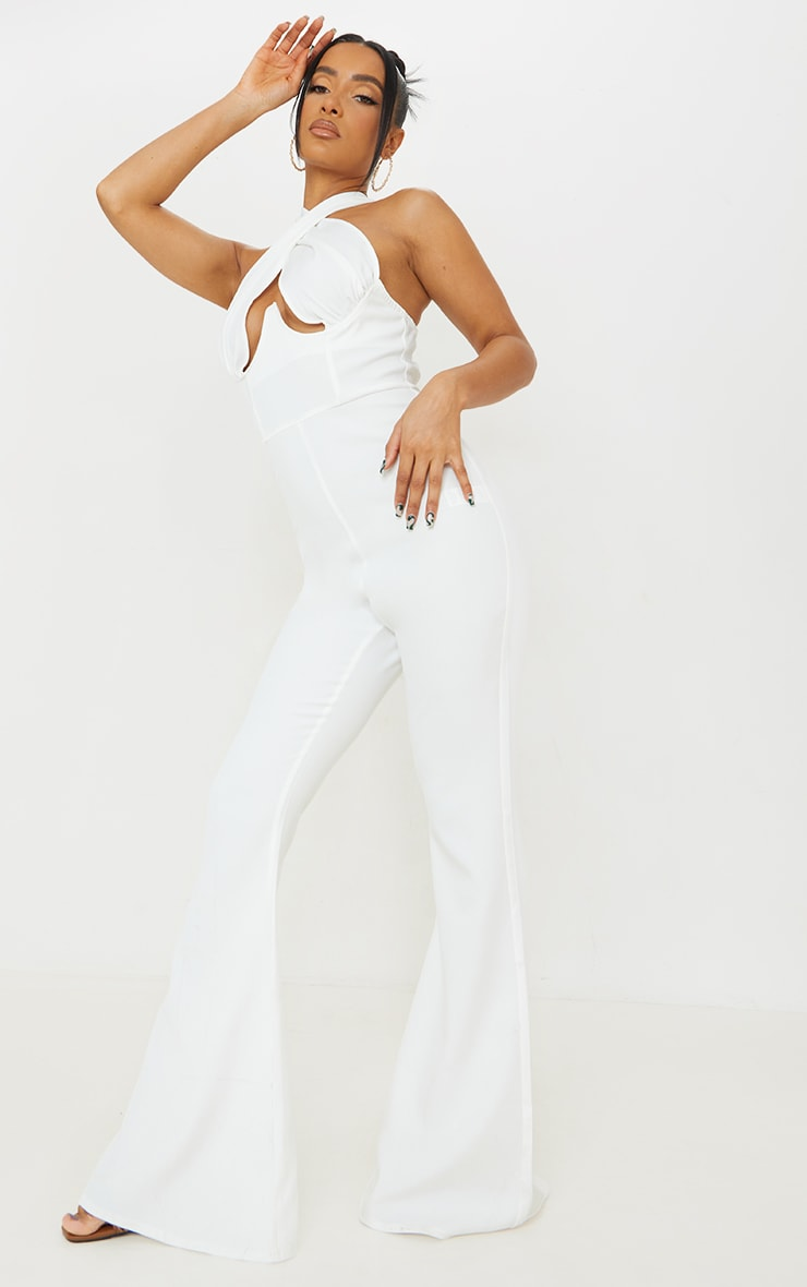 White Cross Bust Underwired Flare Jumpsuit 1