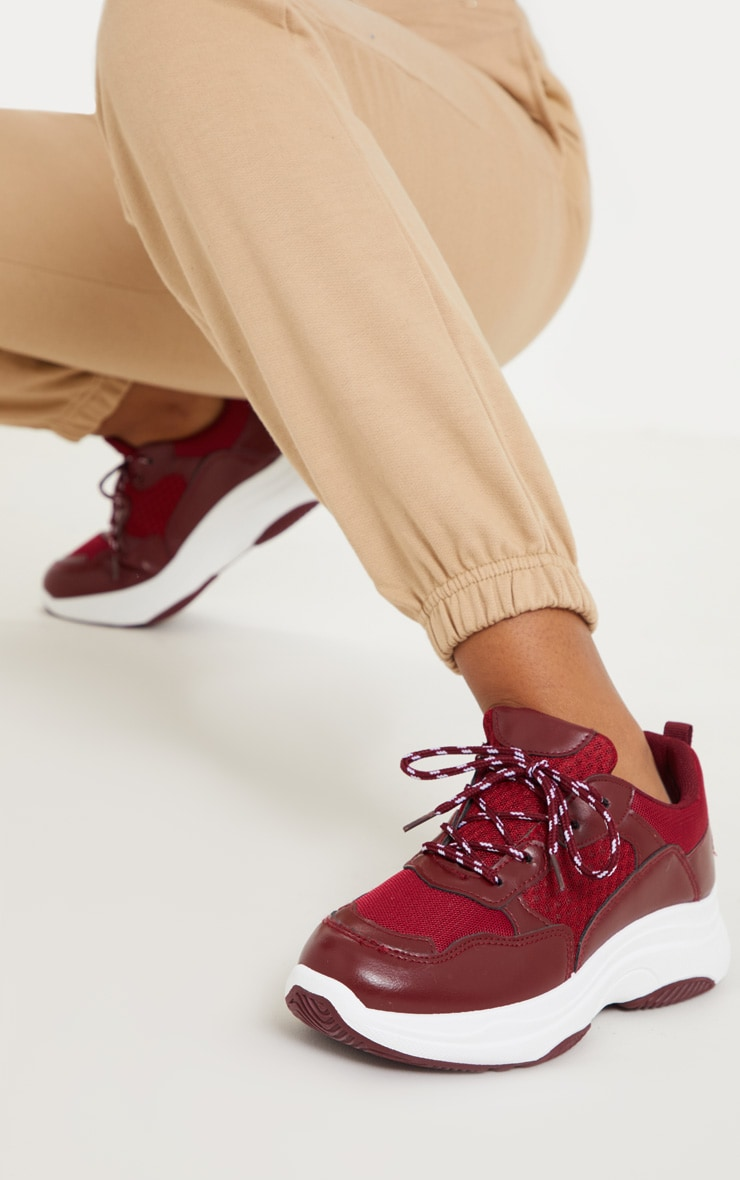 Burgundy PU Panel Chunky Sneakers 2