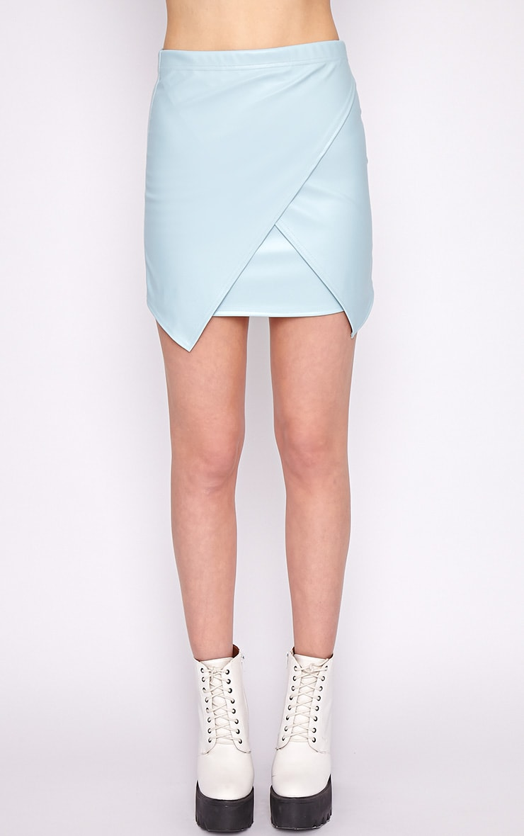 Valerie Blue Asymmetrical Leather Skirt 5
