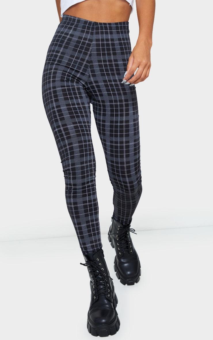 Black Printed Check Leggings 2