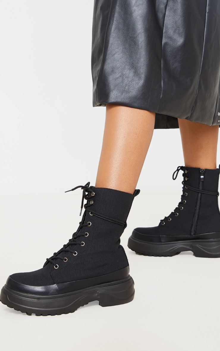 Black Canvas Chunky Sole Hiker Boots 1