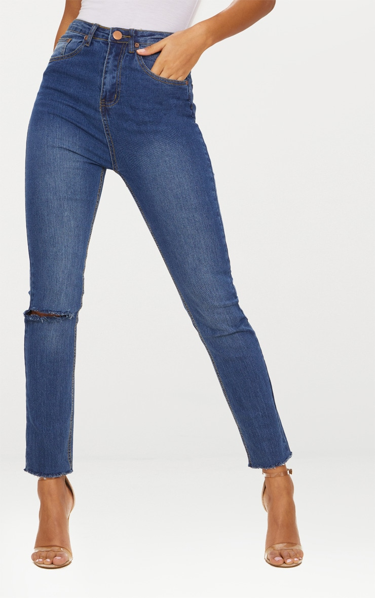 Dark Wash Rip Detail Raw Hem Straight Leg Jean 2