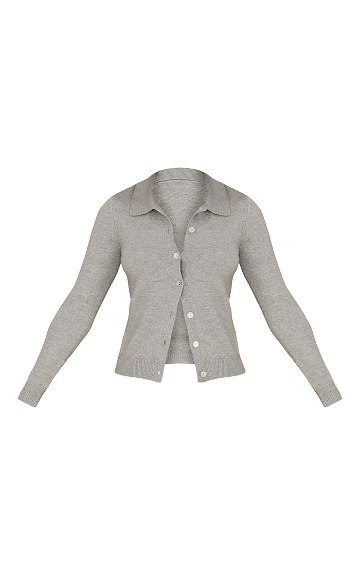 Olive Cosy Knit Button Up Collared Cardigan 5