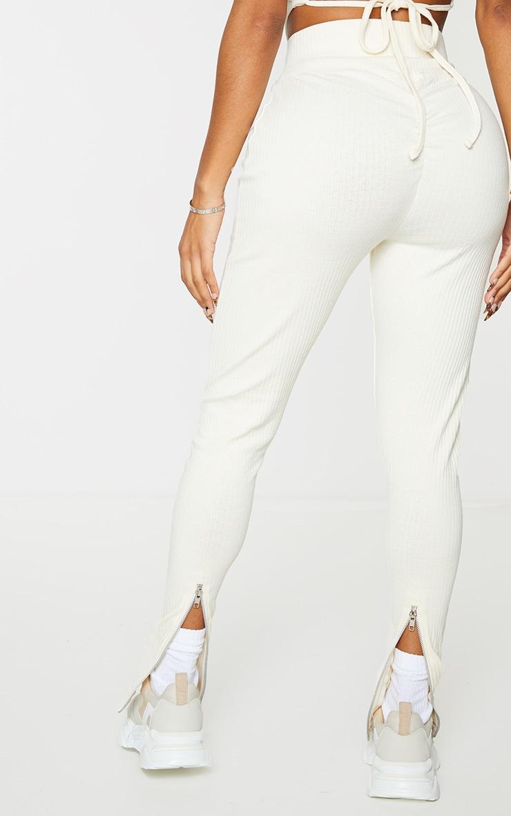 Shape Cream Rib Zip Hem Leggings 3