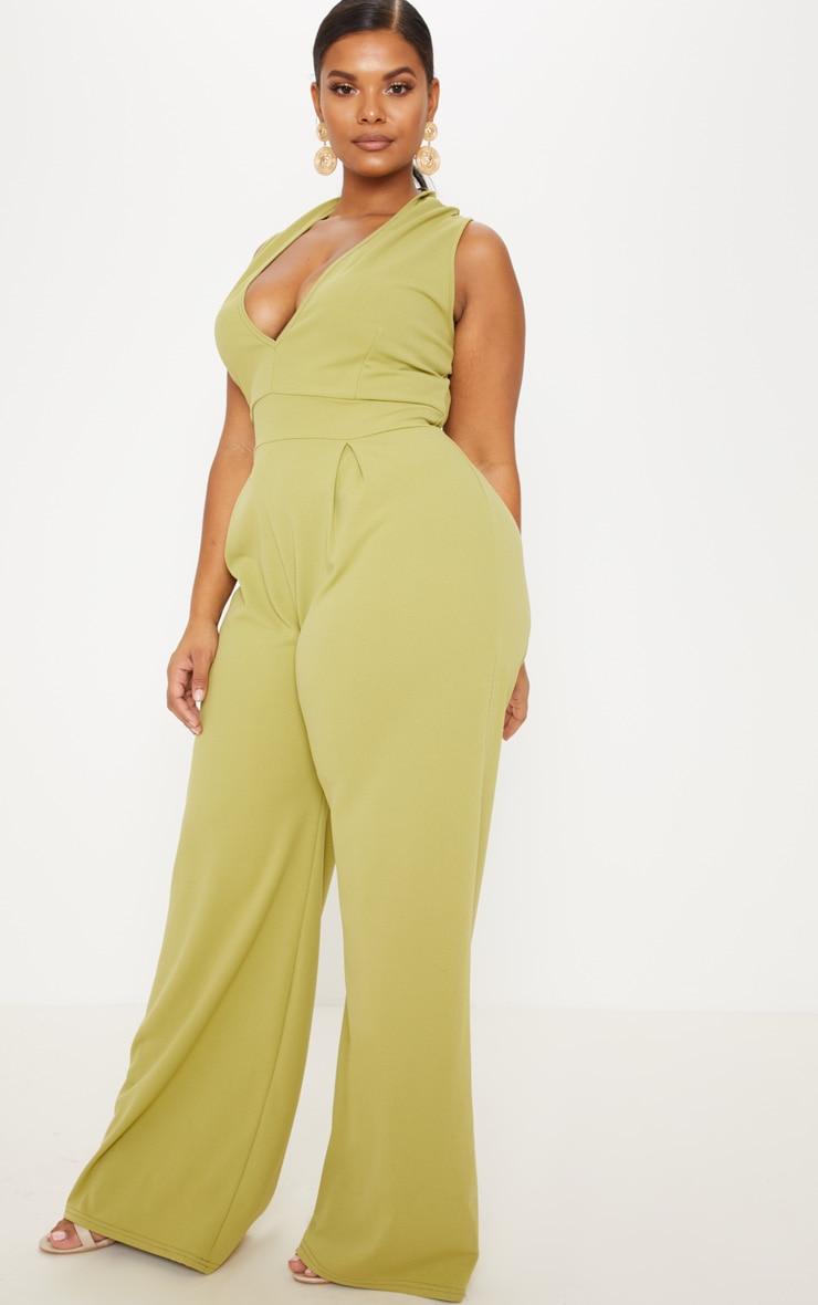 Plus Olive Green Plunge Wide Leg Jumpsuit 4