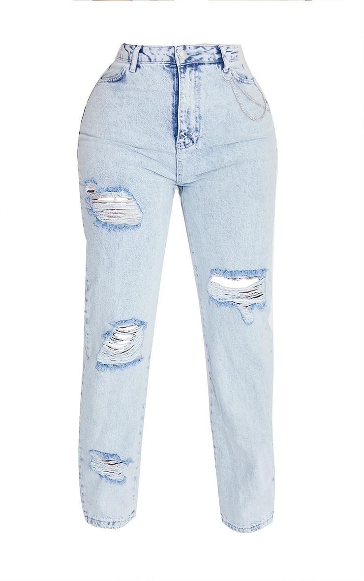 Shape Acid Blue Wash Chain Detail Ripped Bum Straight Leg Jeans 5