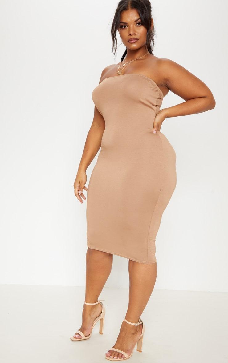 Plus Camel Jersey Bandeau Midi Dress 4