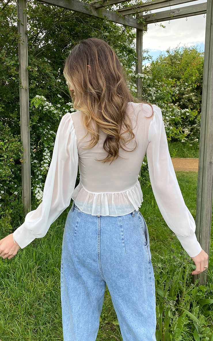 White Chiffon Ruched Button Waist Blouse 2