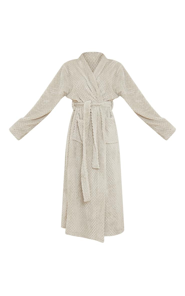 Light Grey Textured Fluffy Longline Dressing Gown 5