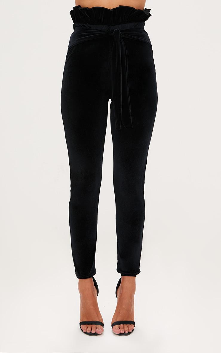 Black Velvet Paperbag Skinny Trousers 2