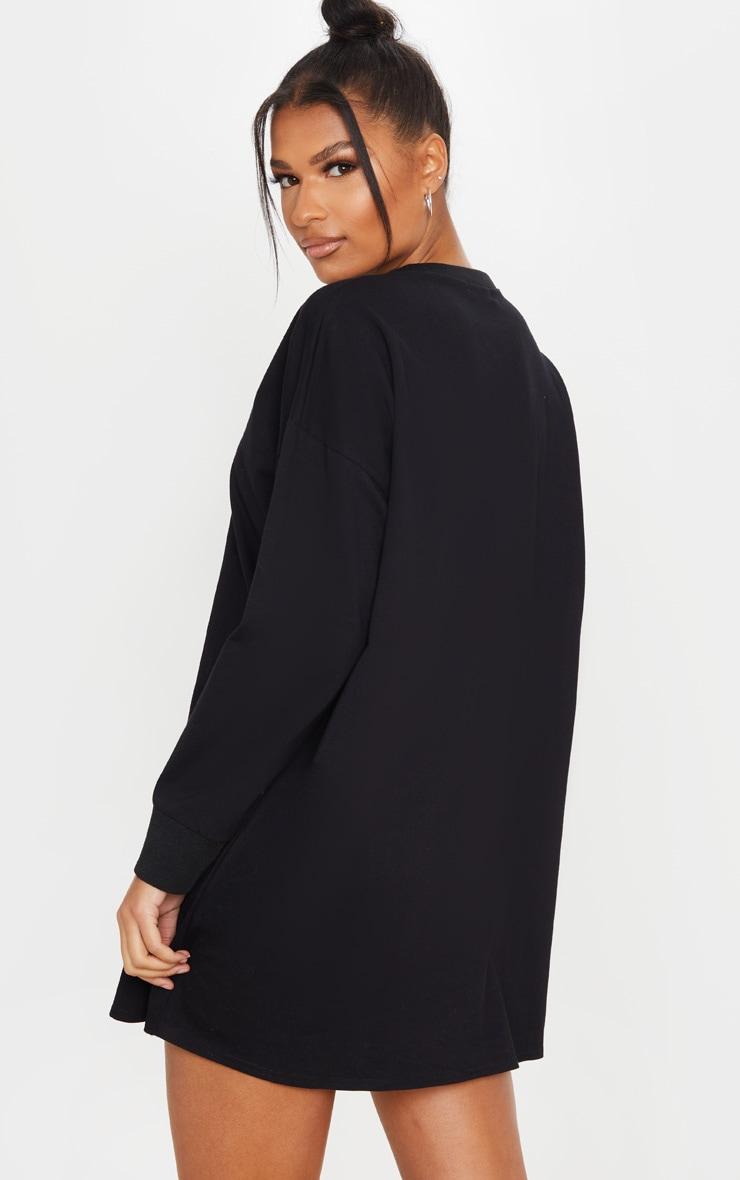 Black Oversized Long Sleeve Crew Neck T Shirt Dress 2