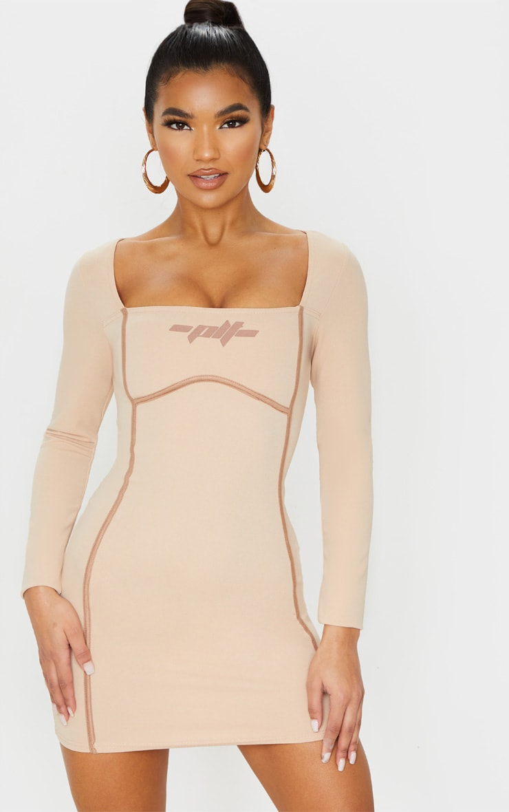 PRETTYLITTLETHING Stone Long Sleeve Bust Detail Slogan Bodycon Dress 5