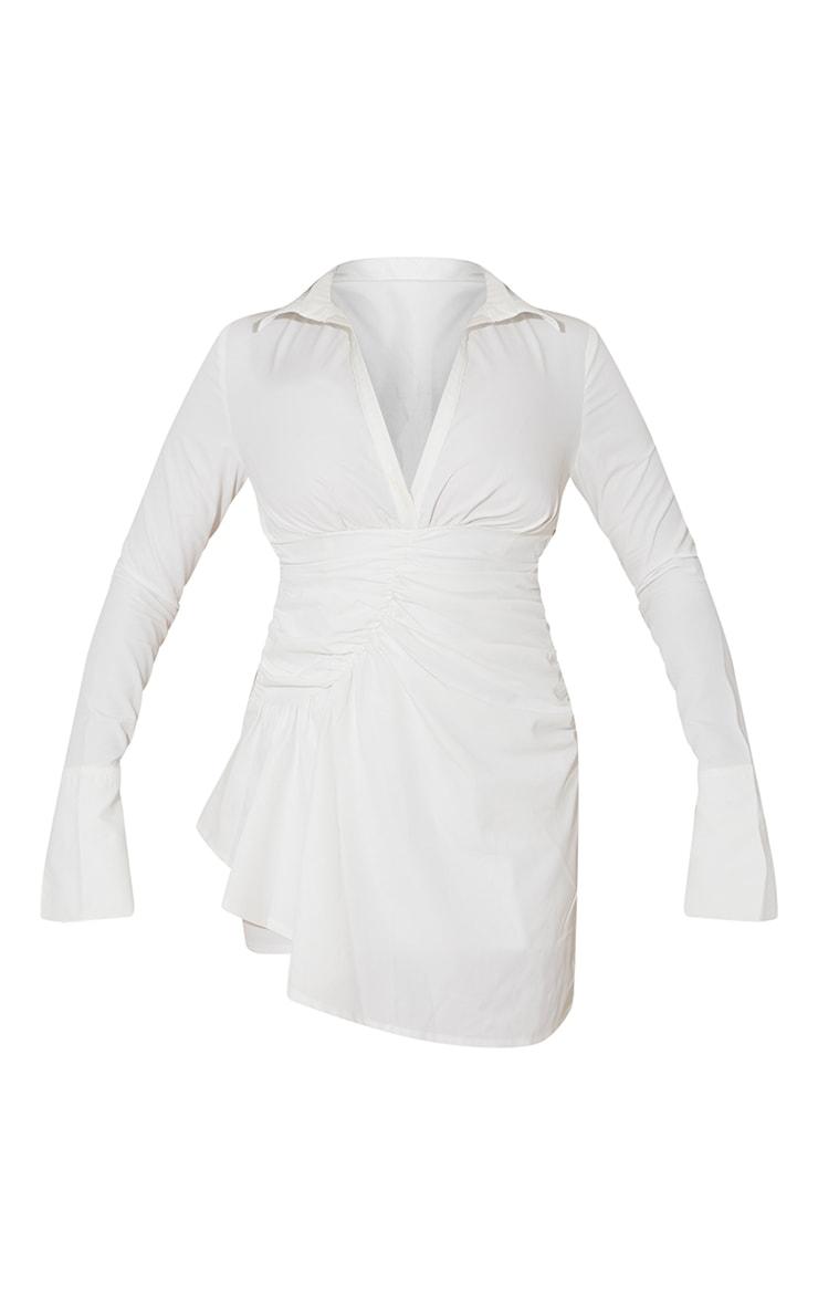 White Oversized Cuff Gathered Skirt Shirt Dress 5