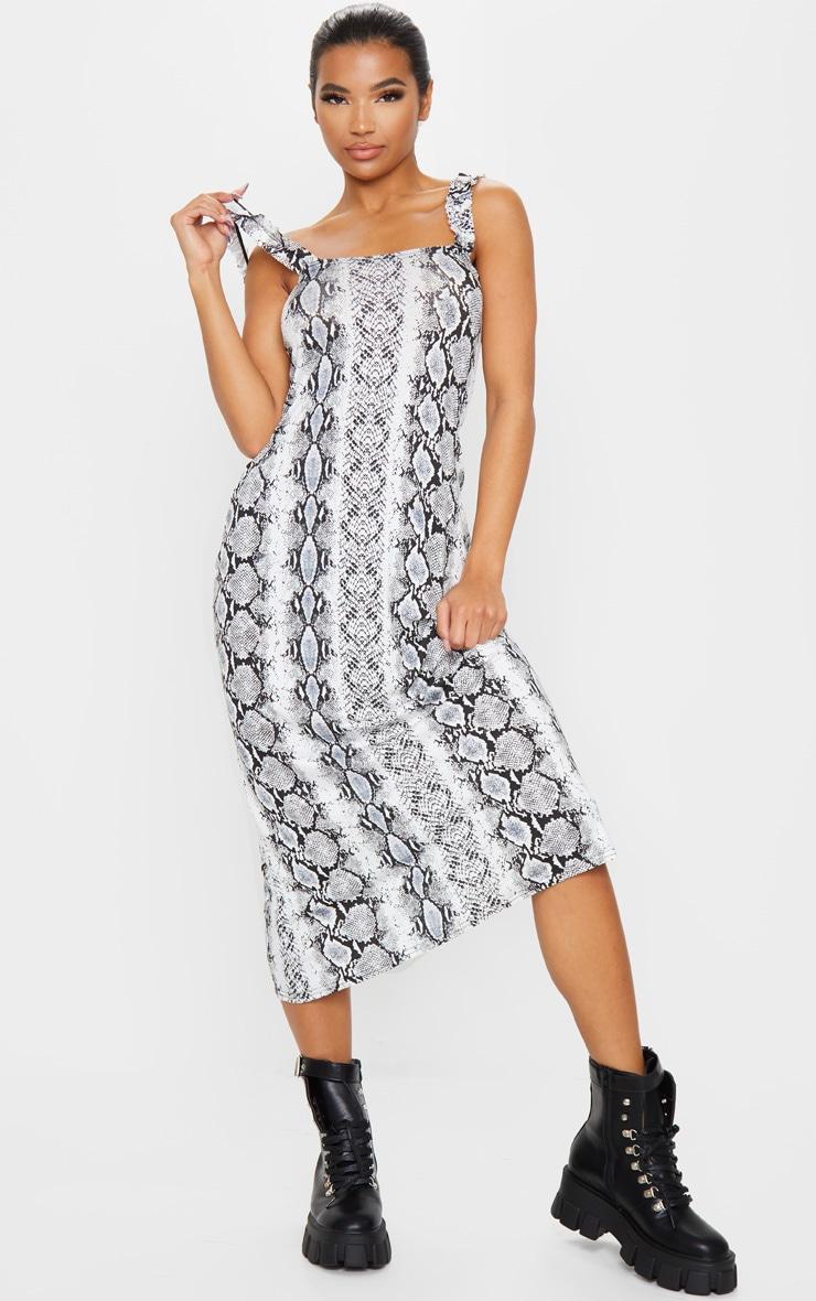 Grey Snake Ruffle Strap Midi Dress 1