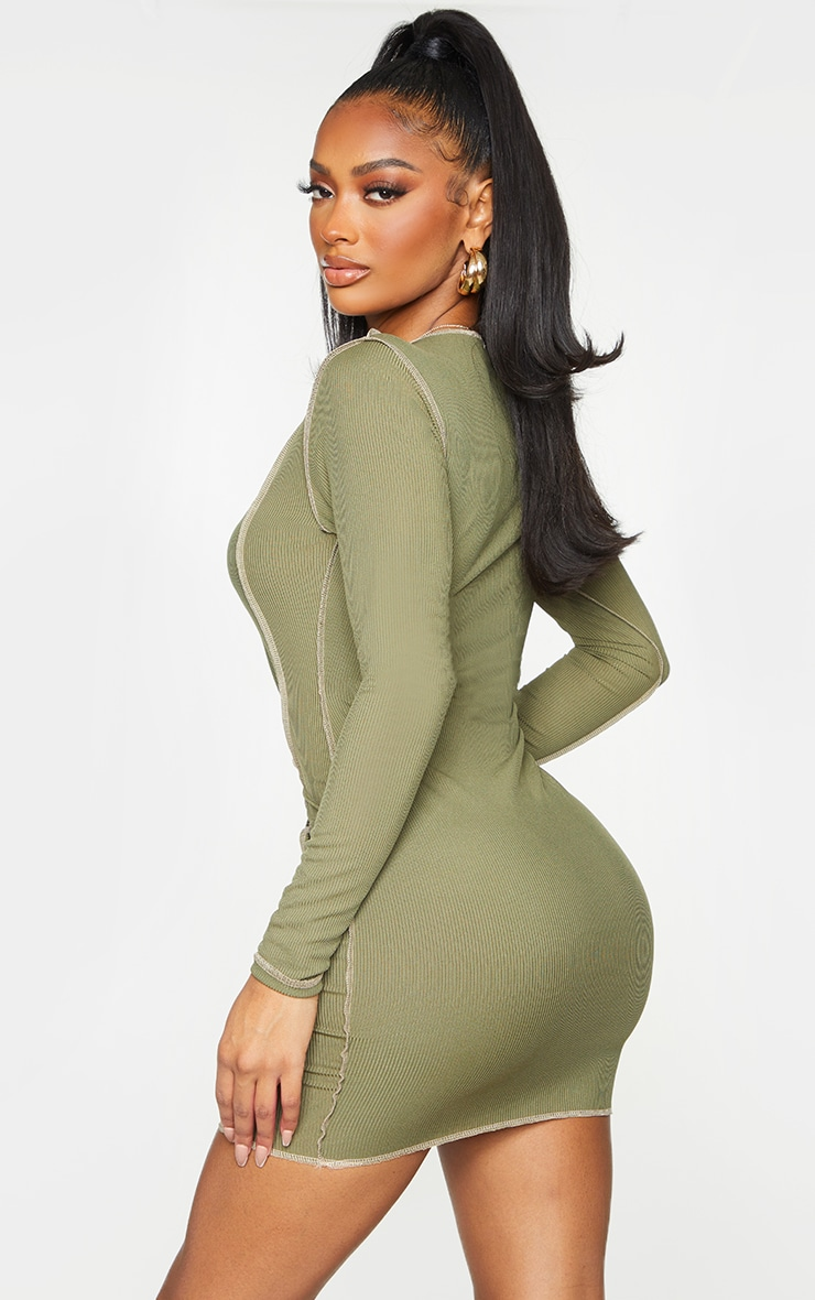 Shape Khaki Rib Overlock Seam Detail Bodycon Dress 2