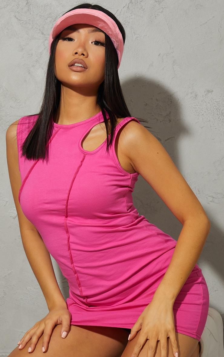 Petite Hot Pink Cotton Seam Cut Out Sleeveless Bodycon Dress 4