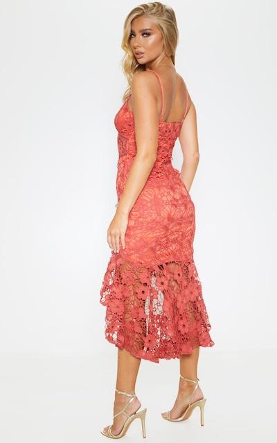 Rust Lace Strappy Frill Hem Midi Dress