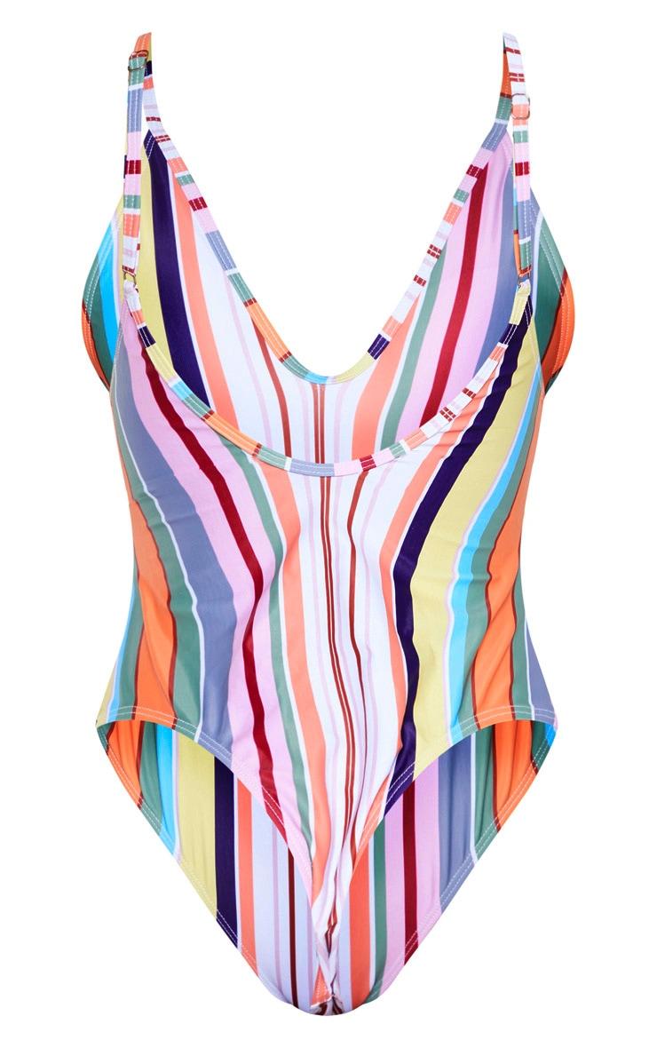 Stripe Low Back Scoop Neck Swimsuit 6