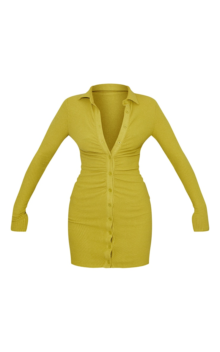 Chartreuse Brushed Rib Long Sleeve Ruched Shirt Dress 5