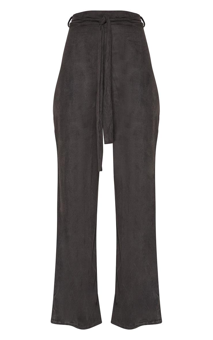 Black Faux Suede Tie Waist Wide Leg Trouser 3
