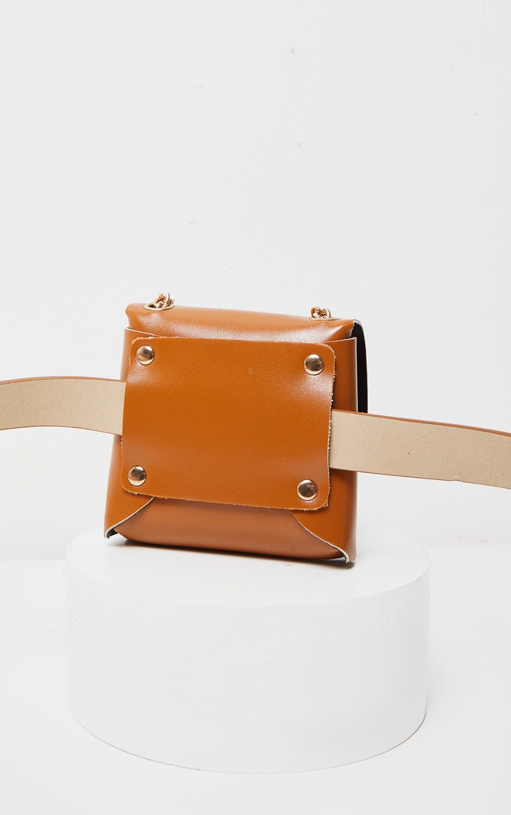 Tan PU Door Knocker Trim Multiwear Belt Bag 5