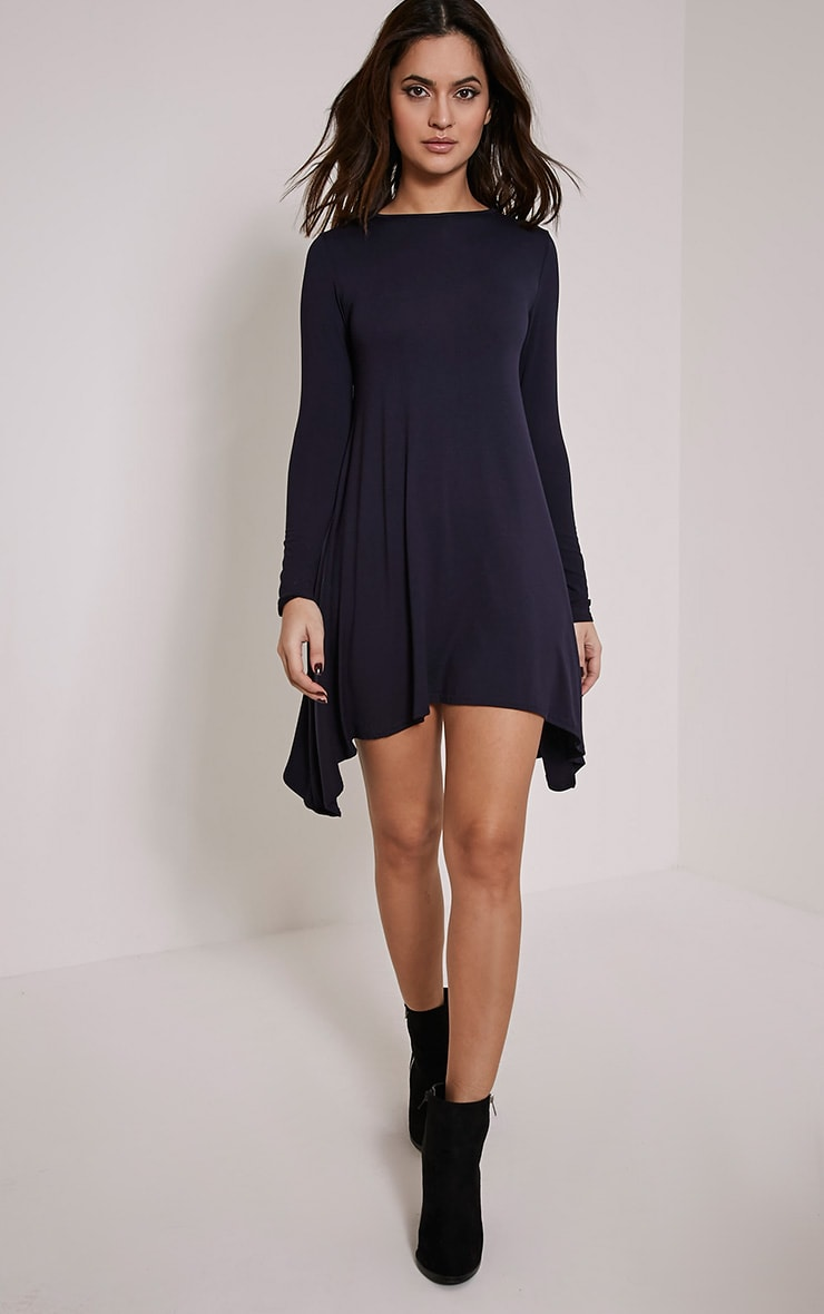 Basic Navy Swing Dress 5