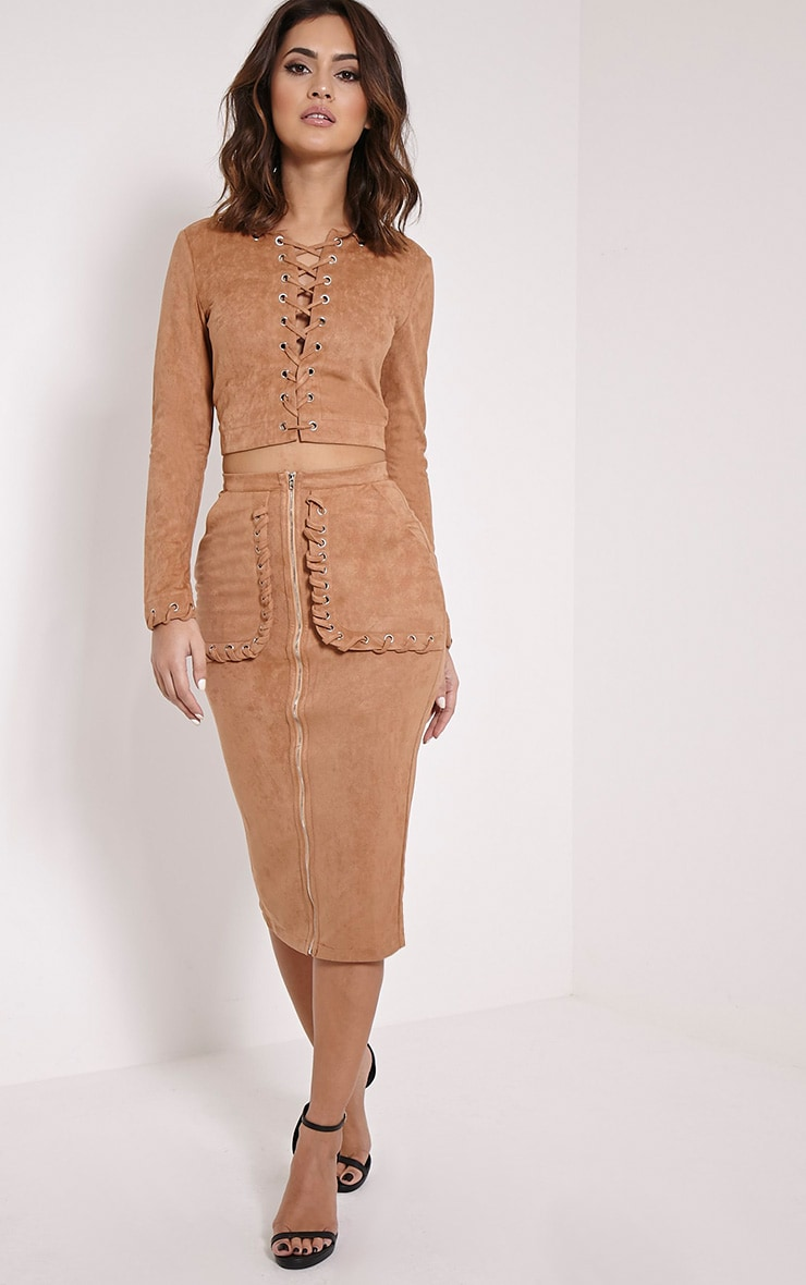 Anna Camel Faux Suede Stitch Pocket Midi Skirt 1