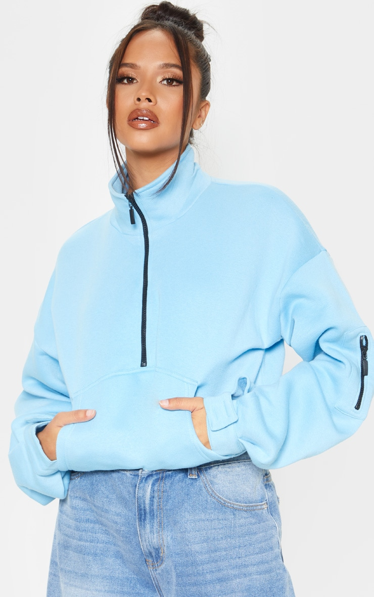 Bright Blue Oversized Zip Front Sweater 5