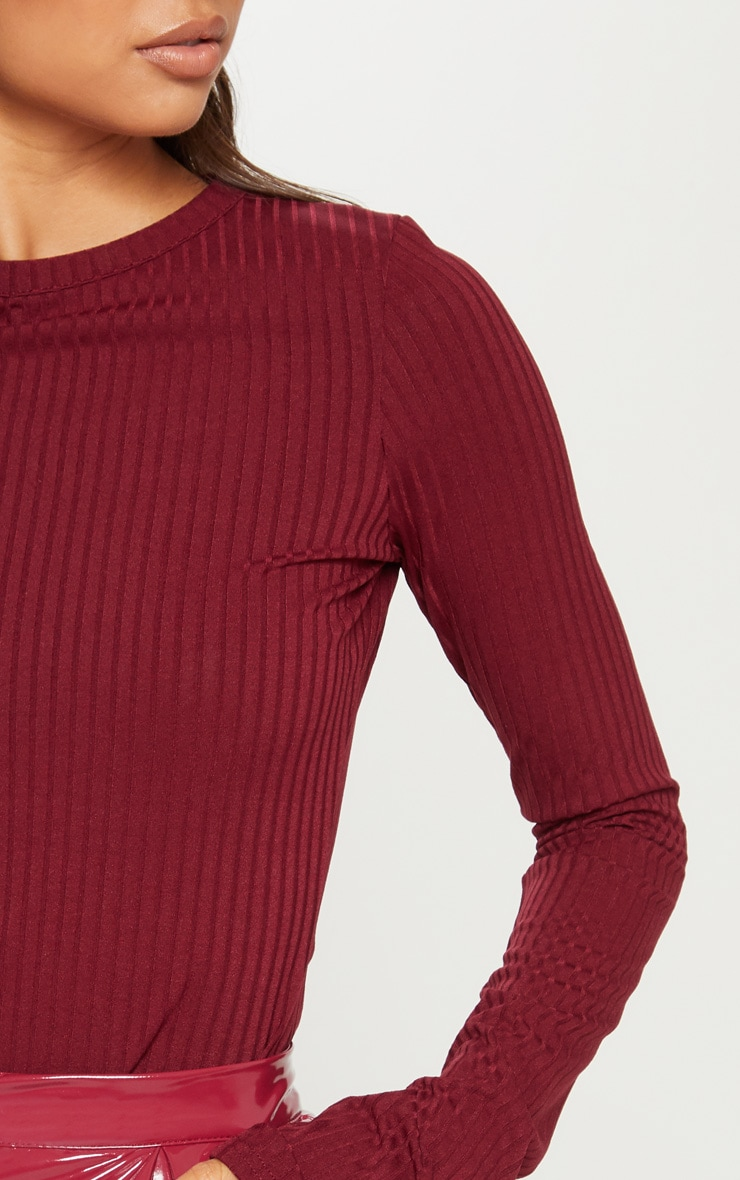 Maroon Rib Crew Neck Long Sleeve Top 5