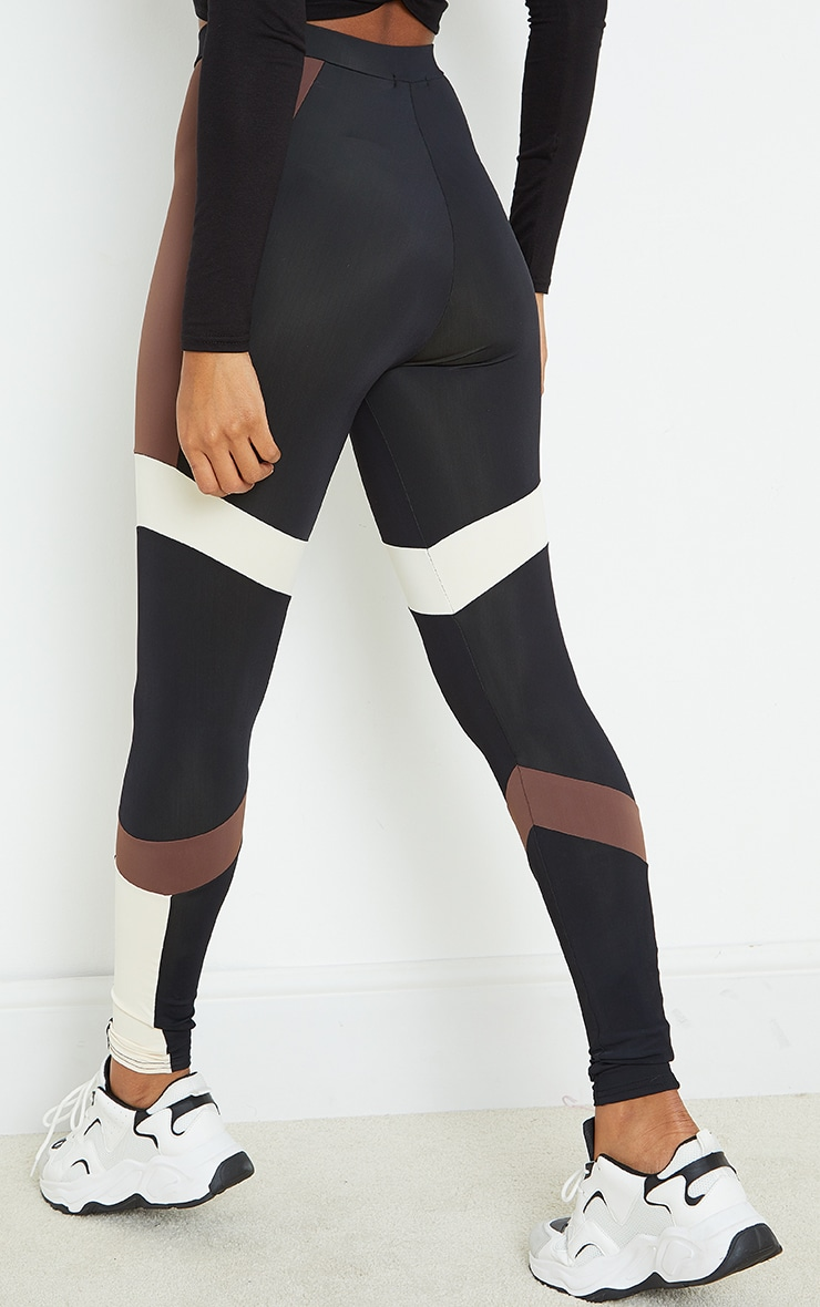 Brown Mono Panel Gym Leggings 3