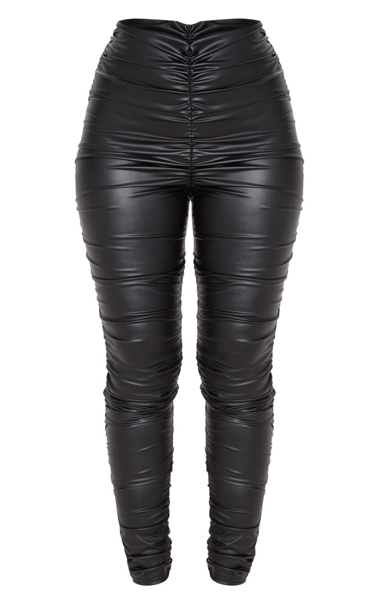 Black Coated Ruched Side Legging 3