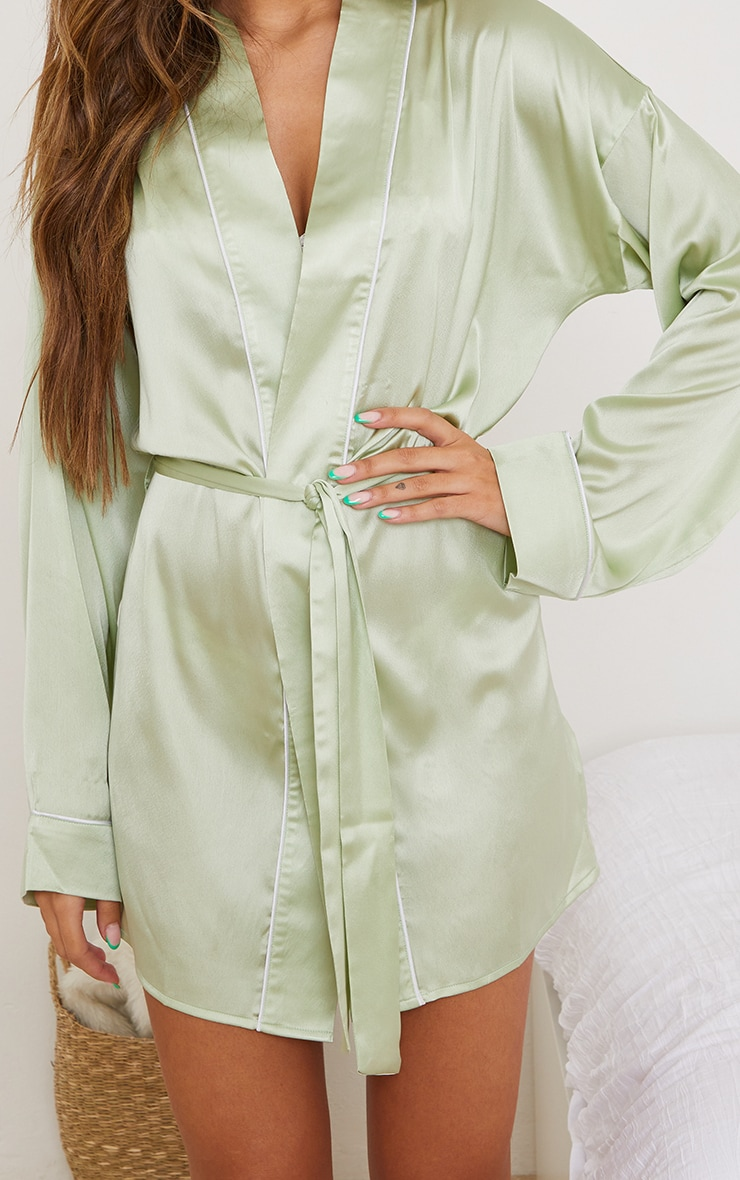 Sage Mix And Match Piped Detail Satin Robe 4