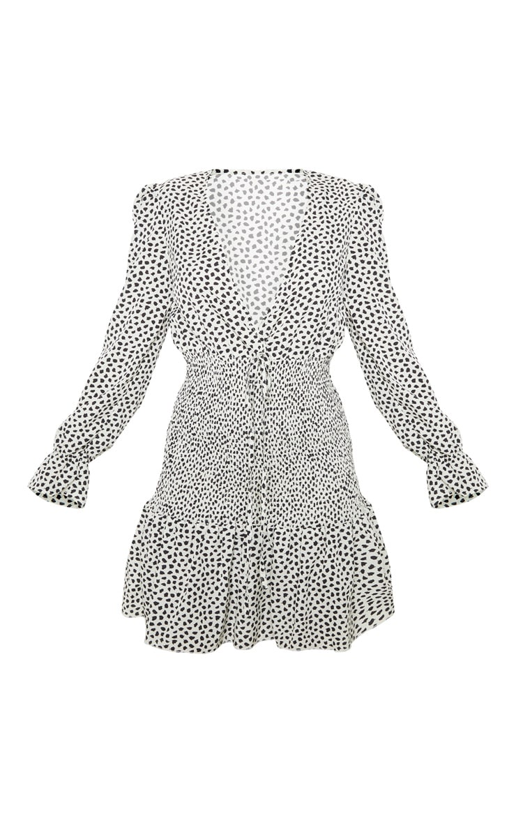 Beige Dalmatian Print Shirred Frill Hem Bodycon Dress 3