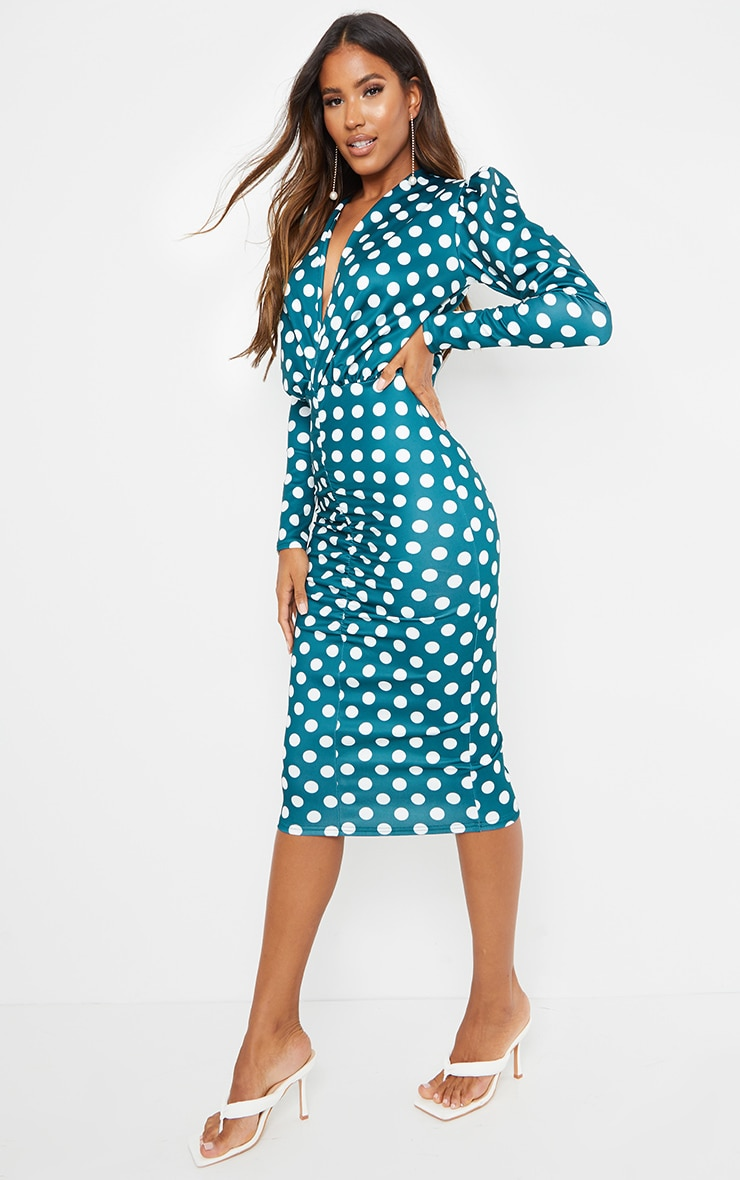 Emerald Green Polka Dot Long Sleeve Plunge Ruched Front Midi Dress