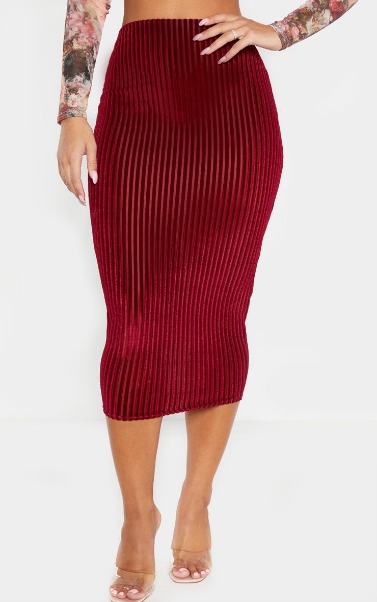 Burgundy Striped Velvet Midi Skirt  2