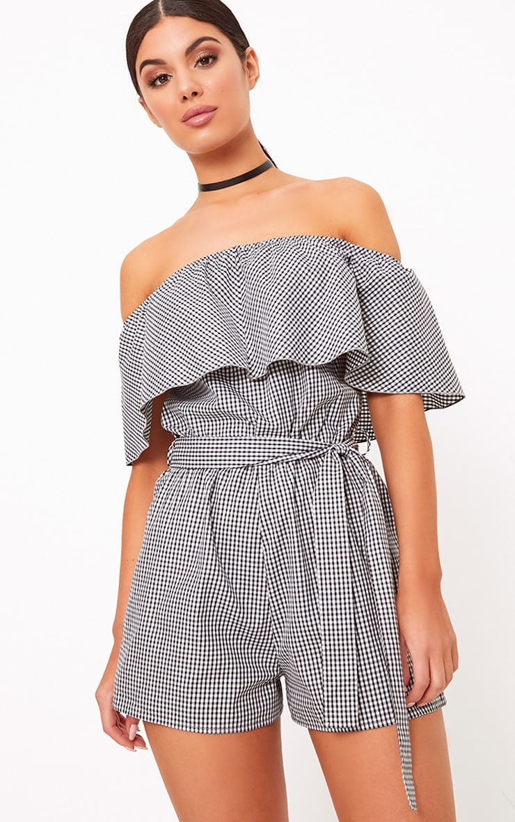 Aliyah Gingham Bardot Playsuit 1