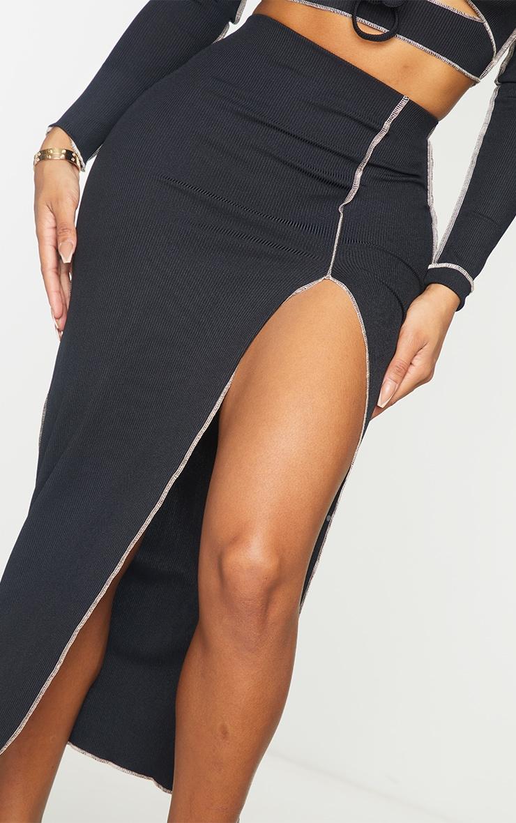 Shape Black Rib Contrast Stitch Split Front Midi Skirt 4