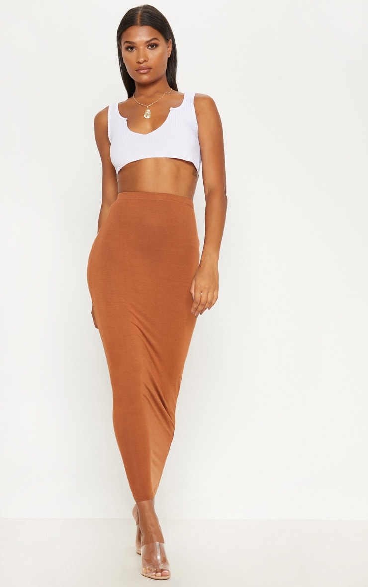 Tan Basic Maxi Skirt 1