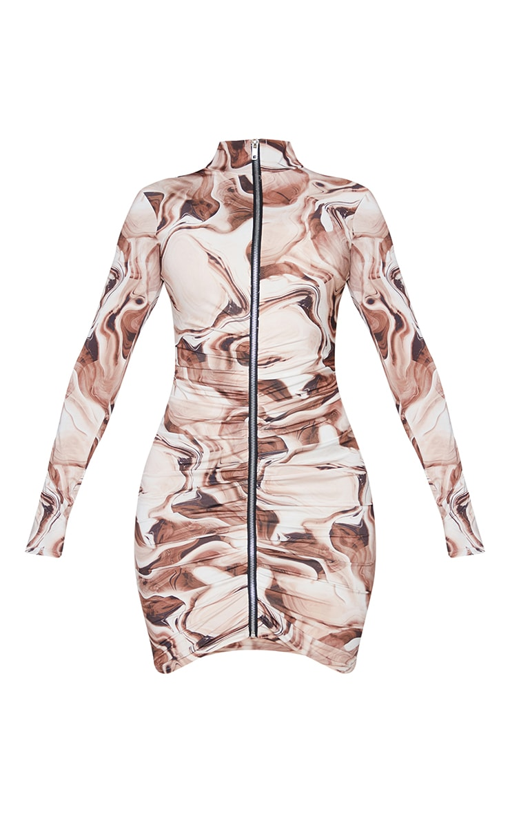 Shape Brown Marble Print Zip Front Collar Detail Bodycon Dress 6