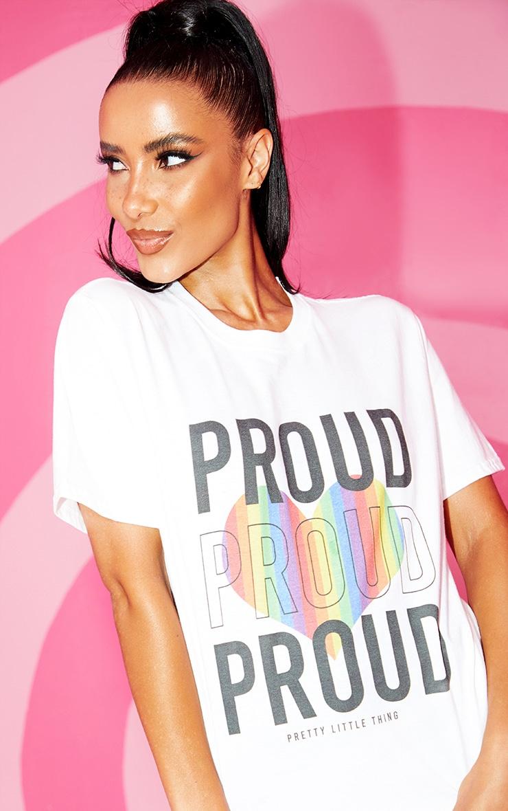 T-shirt blanc à slogan Proud 4