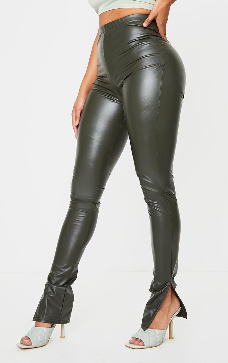 Shape Khaki PU Split Hem Pants 2