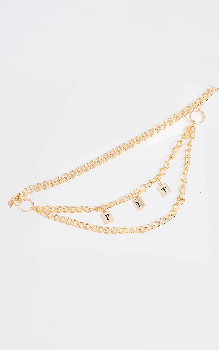 PRETTYLITTLETHING Gold Layering Chain Belt 2