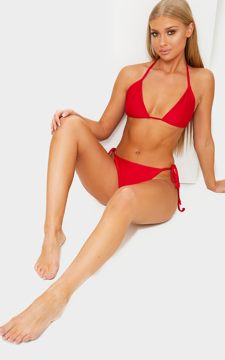 Red Mix & Match Adjustable Tie Side Bikini Bottom 4