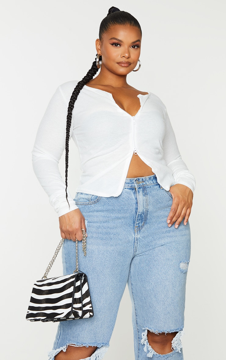 Plus Cream Soft Brushed Rib Double Zip Front Top 3