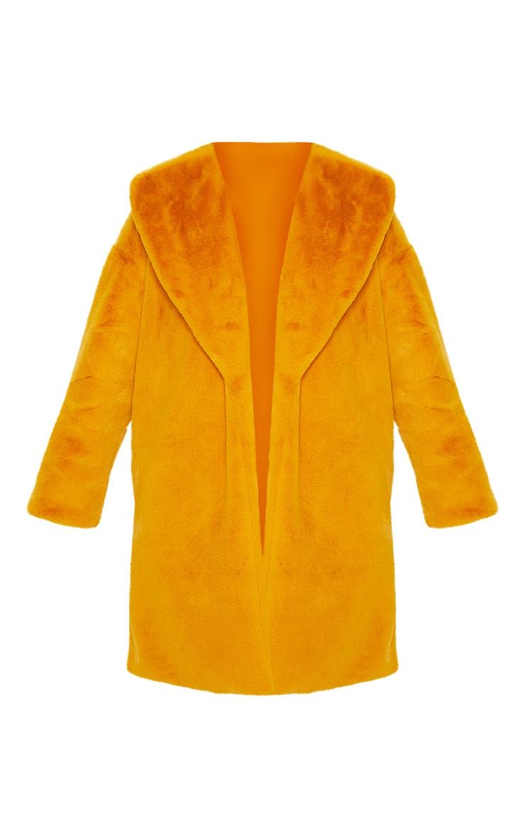 Mustard Midi Faux Fur Collar Coat 3
